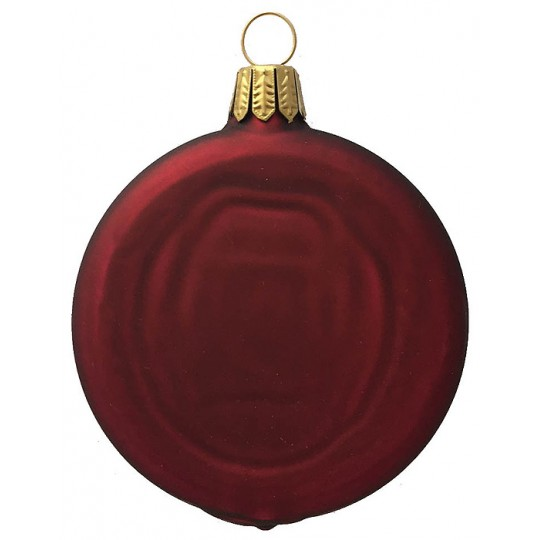 "Matte Burgundy Blown Glass Disc Ornament ~ Germany ~ 3-1/4"" tall"