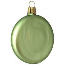 "Matte Pale Green Blown Glass Disc Ornament ~ Germany ~ 3-1/4"" tall"