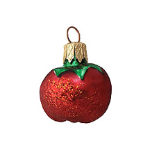"Petite Matte Red Tomato Blown Glass Ornament ~ Poland ~ 1-1/4"" tall"