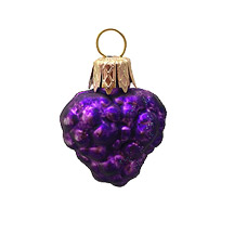 "Petite Matte Purple Berry Blown Glass Ornament ~ Poland ~ 1-1/4"" tall"
