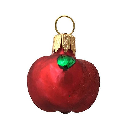 "Petite Matte Red Apple Blown Glass Ornament ~ Poland ~ 1-1/4"" tall"