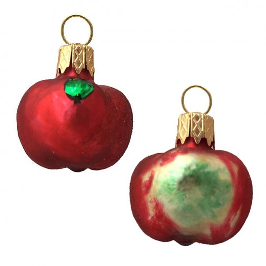 "Petite Matte Red Apple Blown Glass Ornament ~ Poland ~ 1-1/4"" tall"