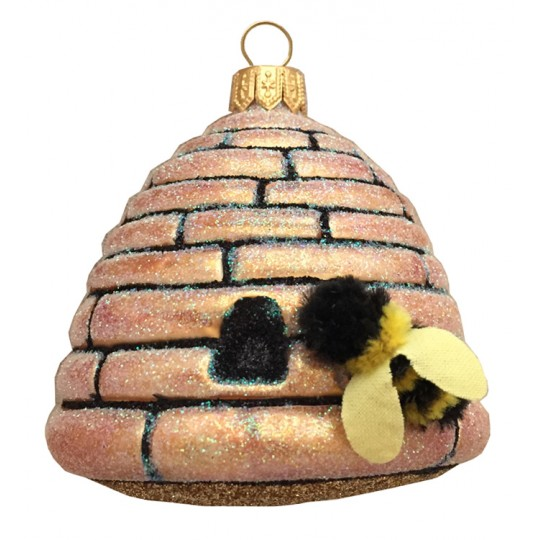 "Bee Hive with Bee Blown Glass Ornament ~ Poland ~ 2-5/8"" tall"