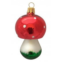 "Colorful Blown Glass Mushroom Ornament ~ Germany ~ 2-3/4"" long"