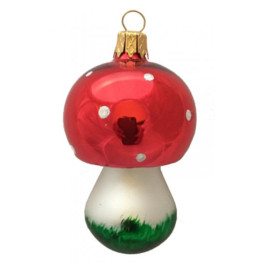 "Colorful Blown Glass Mushroom Ornament ~ Germany ~ 2-3/4"" long"
