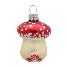 "Small Blown Glass Mushroom Ornament ~ Germany ~ 2"" long"
