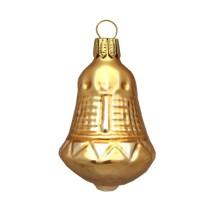 "Matte Gold Blown Glass Bell Ornament ~ Germany ~ 2-1/4"" tall"