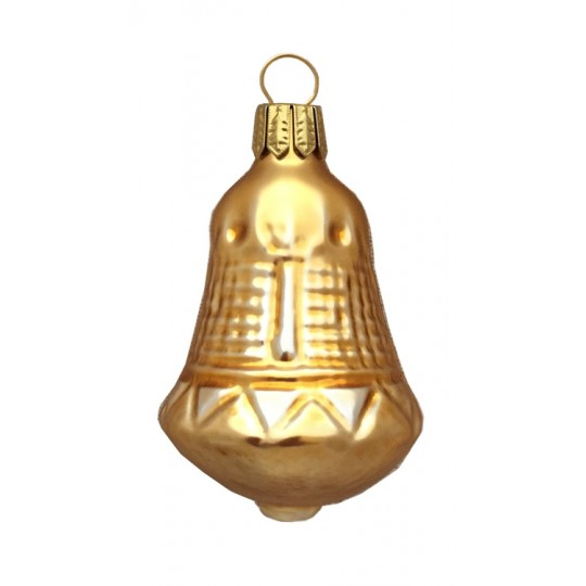 "Matte Gold Blown Glass Bell Ornament ~ Germany ~ 2-1/4"" tall"