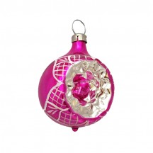 """Shiny Hot Pink Blown Glass Indent Ornament ~ Germany ~ 2"""" tall"""