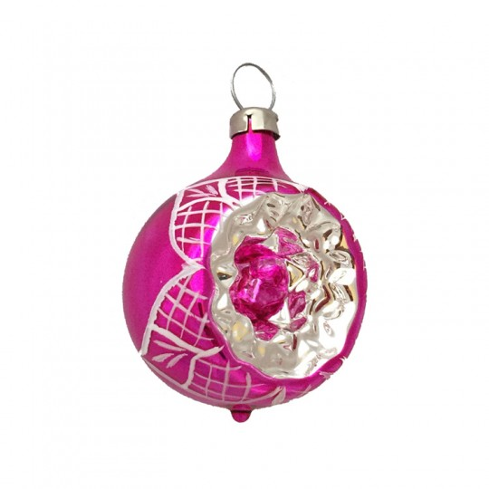 "Shiny Hot Pink Blown Glass Indent Ornament ~ Germany ~ 2"" tall"