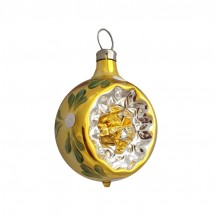 "Shiny Gold Blown Glass Indent Ornament ~ Germany ~ 2"" tall"