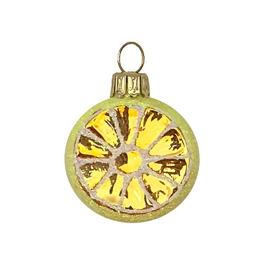 "Petite Lemon Slice Blown Glass Ornament ~ Poland ~ 1-3/8"" tall"