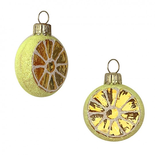 "Petite Lemon Slice Blown Glass Ornament ~ Poland ~ 1-3/8"" tall"
