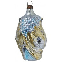 "Victorian Dolphin Blown Glass Ornament ~ Germany ~ 2-3/4"" tall"