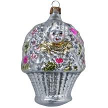 "Girl in Flower Basket Blown Glass Ornament ~ Germany ~ 3-1/2"" tall"