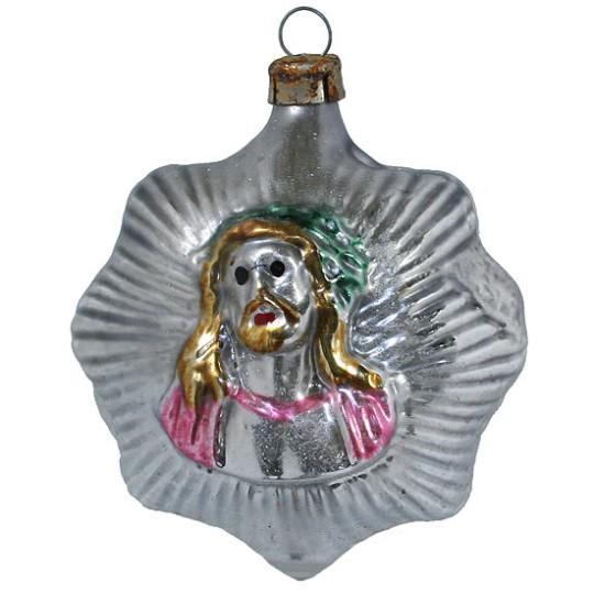 """Jesus on Star Blown Glass Ornament ~ Germany ~ 2-1/2"""" tall"""