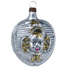 """Cherub Flower Heart Blown Glass Ornament ~ Germany ~ 2-1/2"""" tall"""