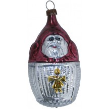 "Santa in Basket Blown Glass Ornament ~ Germany ~ 3"" tall"