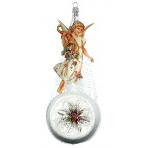 "Fancy Angel on Large Frosted Indent Victorian Style Christmas Ornament ~ Germany ~ 8"" tall"