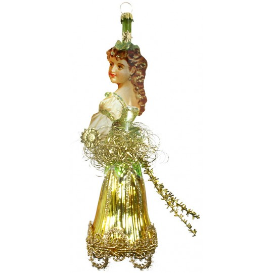 "Green Flower Princess Victorian Style Christmas Ornament ~ Germany ~ 8"" tall"
