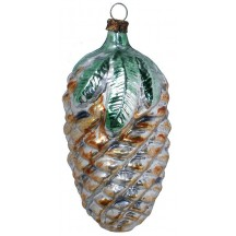 "Golden Pine Cone Blown Glass Ornament ~ Germany ~ 3-1/4"" tall"