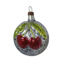 "Double Cherries Blown Glass Ornament ~ Germany ~ 2-1/4"" tall"