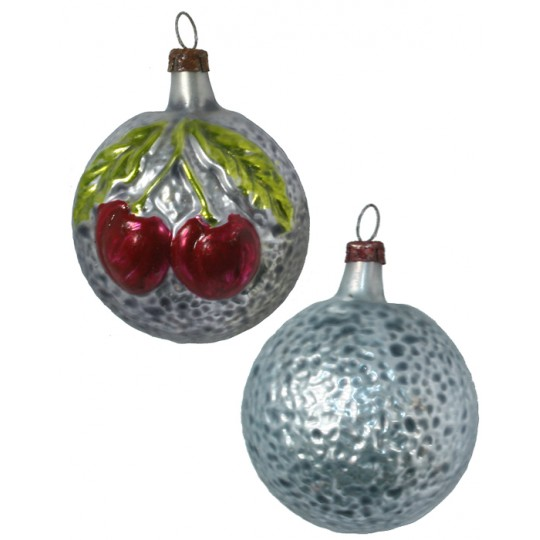 """Double Cherries Blown Glass Ornament ~ Germany ~ 2-1/4"""" tall"""