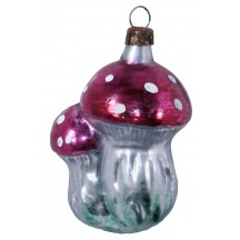 "Double Mushrooms Blown Glass Ornament ~ Germany ~ 3"" tall"