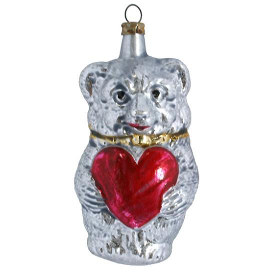 "Fairytale Bear with Heart Blown Glass Ornament ~ Germany ~ 3-1/2"" tall"