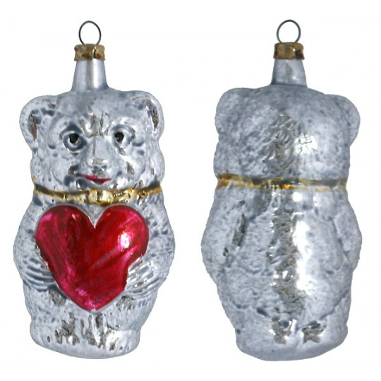 "Fairytale Bear with Heart Blown Glass Ornament ~ Germany ~ 3-1/2"" tall"