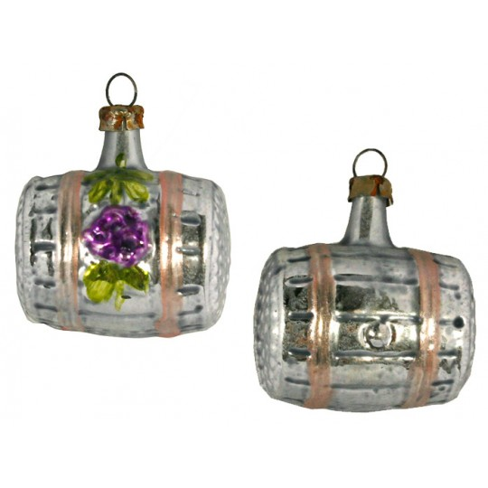 """Small Wine Barrel Ornament ~ Germany ~ 1-3/4"""" tall"""