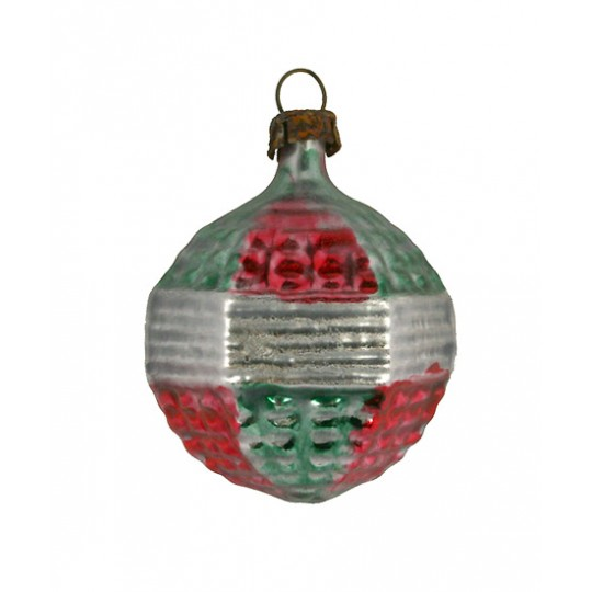 "Classic Red and Green Ball Ornament ~ Germany ~ 1-3/4"" tall"