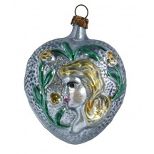 """Silver Maiden on Heart Blown Glass Ornament ~ Germany ~ 2-3/4"""" tall"""