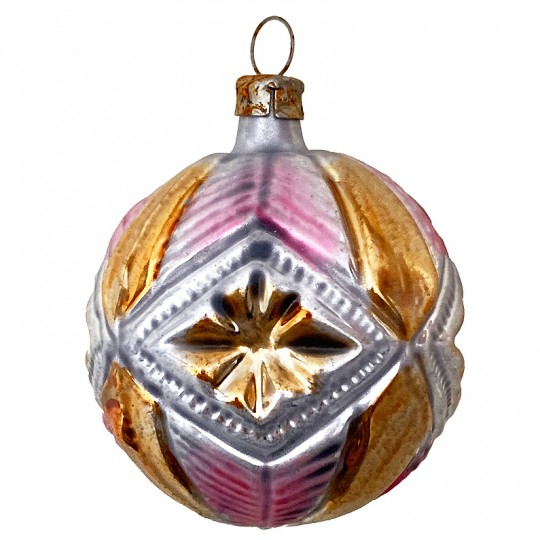 "Gold and Pink Geometric Star Ball Glass Ornament ~ Germany ~ 2-1/2"" tall"