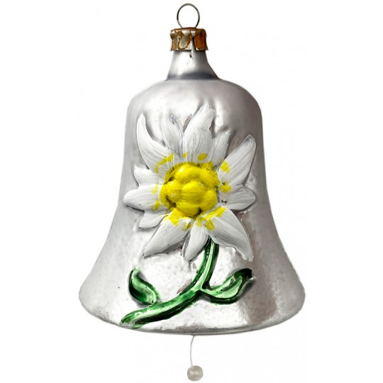 "Edelweiss Bell Blown Glass Ornament ~ Germany ~ 2-1/2"" tall"