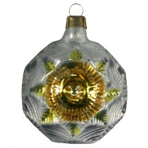 "Silver and Gold Fancy Star Indent Glass Ornament ~ Germany ~ 2-1/2"" tall"