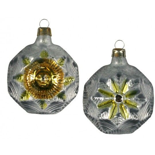 """Silver and Gold Fancy Star Indent Glass Ornament ~ Germany ~ 2-1/2"""" tall"""