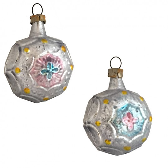 "Petite Silver, Blue and Pink Fancy Baroque Glass Ornament ~ Germany ~ 1-7/8"" tall"