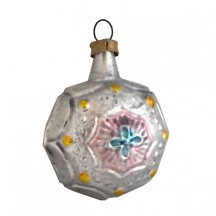 """Petite Silver, Blue and Pink Fancy Baroque Glass Ornament ~ Germany ~ 1-7/8"""" tall"""