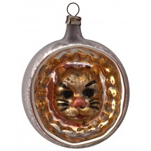 """Cat Indent Blown Glass Ornament ~ Germany ~ 2-1/2"""" tall"""
