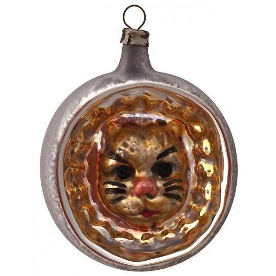 "Cat Indent Blown Glass Ornament ~ Germany ~ 2-1/2"" tall"