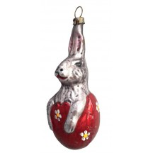 "Easter Bunny in Red Egg Blown Glass Ornament ~ Germany ~ 3-3/4"" tall"