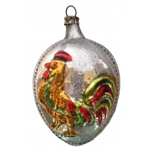 "Rooster Egg Blown Glass Ornament ~ Germany ~ 2-3/4"" tall"