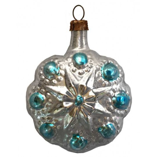 "SIlver and Blue Flower Ornament ~ Germany ~2-1/4"" tall"
