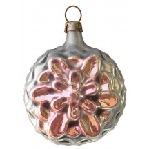 "SIlver and Pink Flower Ornament ~ Germany ~2-1/2"" tall"
