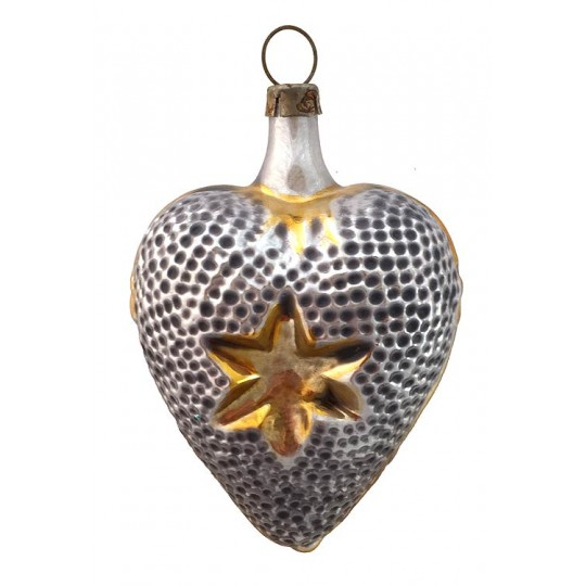 "Silver Heart with Star Blown Glass Ornament ~ Germany ~ 3"" tall"