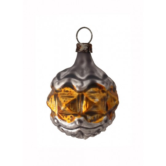 """Gold and Silver Geometric Ball Glass Ornament ~ Germany ~ 2"""" tall"""