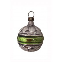 "Green and Silver Striped Ball Glass Ornament ~ Germany ~ 1-1/2"" tall"
