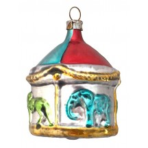 "Circus Carousel Blown Glass Ornament ~ Germany ~ 2-5/8"" tall"