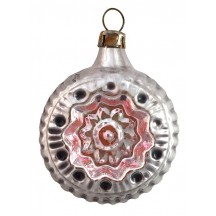 "Silver and Pink Fancy Glass Indent Ornament ~ Germany ~ 2-1/2"" tall"